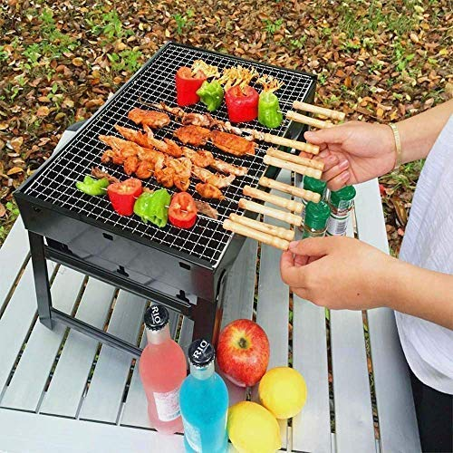 BVB mart Folding Portable Outdoor Barbeque Charcoal BBQ Grill Oven Black Carbon Steel, Black