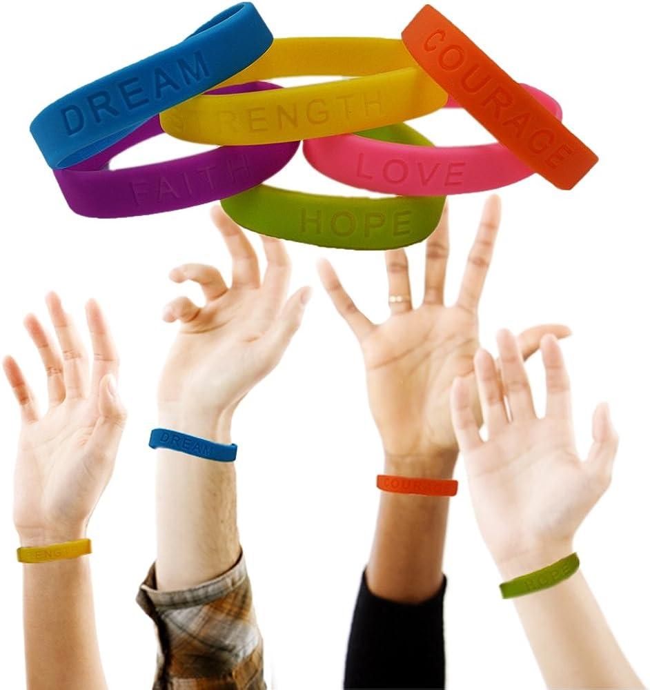 Max 76% OFF Toy Cubby Cheap super special price Colorful Motivational Rubber Dozen Bracelet-4