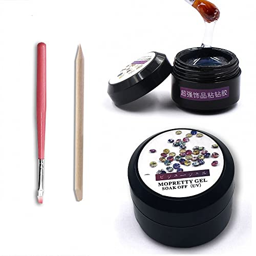 MOPRETTY Super Sticky Rhinestone Glue Adhesive Builder Tip Manicure Nail Art Decoration Clear UV Gel 8ml
