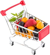 Mini Shopping Cart, Novelty Shopping Cart - 5.5 Inches - Silver and Blue - Fun Decoration, Serve Snacks or Appetizers - 1ct Box - Restaurantware
