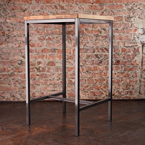Stehtisch Bartisch Tresen Bar IndustrieDesign Loft (ein Set: 66er Tisch +2 Hocker, Eiche natur) - 3