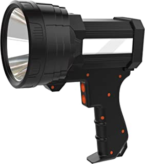 Super Bright Handheld Flashlight Rechargeable Marine Spotlight with High Lumens CREE LED, 9600mAh Long Lasting Portable Searchlight Flood Light Side Tactical Torch with USB Output