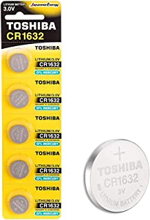 Toshiba CR1632 3V Lithium Coin Cell Battery Pack of 5 batteries Expiry date Aug 2025