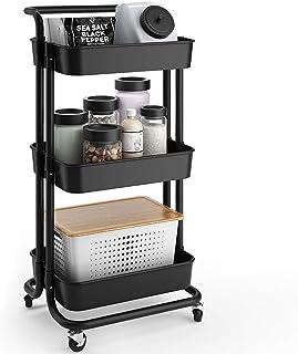 YOOKEA Carrito de Cocina de 3 Niveles con Ruedas Bloqueables, Funcional Estantería de Almacenamiento para Baño, Oficina, Dormitorio, Negro