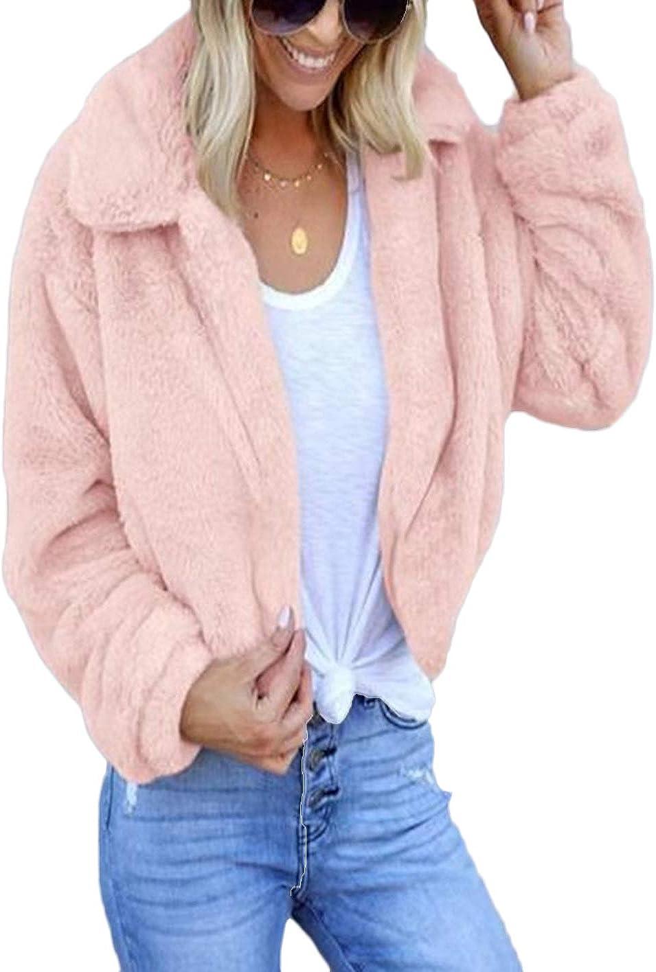 wsevypo Womens Faux Fur Jacket Open Front Shaggy Long Sleeve Furry Lapel Coat Warm Winter Sherpa Outwear