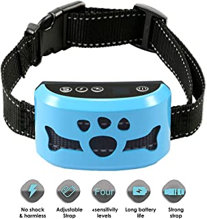 AHJDL Dog No Bark Collar with Smart Detection Vibration and Harmless Shock- Rechargeable Anti Barking Device for Small Medium and Large Dog