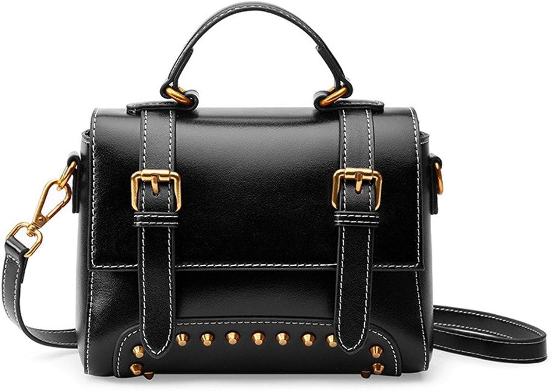 Sturdy Fashian Retro Style Leather Handbag Female Shoulder Messenger Handbag Small Handbag Ladies Handbag Rivets Casual Style Large Capacity (color   Black)