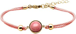 Bracelet Coton Cabochon Rhodonite - Equilibre Emotionnel & Apaisement - LABISE Paris
