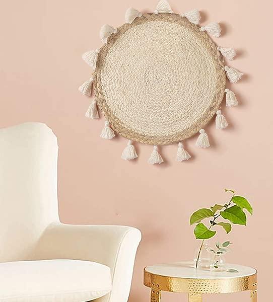 Flber Woven Wall Baskets Wall Hanging Tassel Macrame Boho Wall Art Home D Cor 14 Diameter