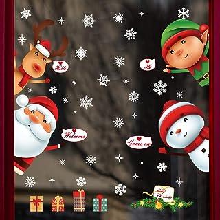 DegGod 1 Sheet Christmas Window Cling Decorations Stickers, DIY Santa Claus Snowman Elf Elk Snowflakes PVC Removable Decal...