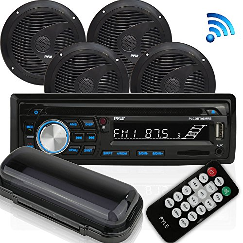 Wireless Bluetooth Marine Audio Stereo - Kit w/Single DIN Universal Size Radio Receiver, Hands-Free Calling, 6.5' Waterproof Speakers, CD Player, MP3/USB/SD Readers & AM/FM Radio - Pyle PLCDBT95MRB