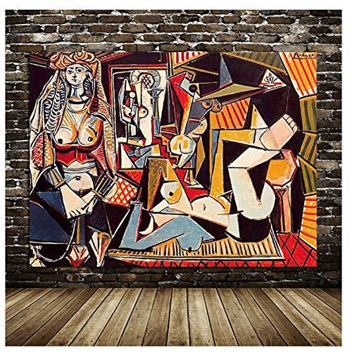 Las mejores mujeres de Argel Picasso pintura al óleo lienzo impresión cartel retro pared arte imagen para sala de estar decoración del hogar -80x100 cm sin marco