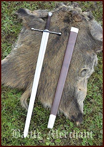 Battle-Merchant Bastardschwert mit Scheide, für Schaukampf, SK-B Echtes Schwert Geschmiedet Anderthalbhänder Stahl