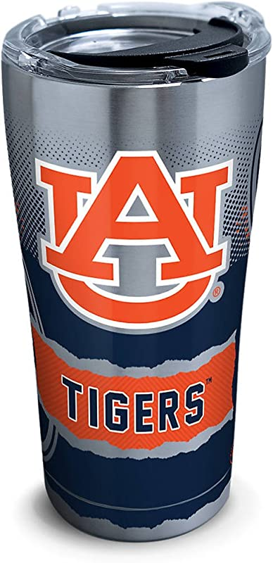 Tervis 1268932 Auburn Tigers Knockout Stainless Steel Tumbler With Clear And Black Hammer Lid 20oz Silver