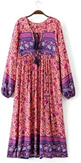 Women's Enthic Style Boho Deep V Neck Tied up Long Sleeve Loose Vintage Print Maxi Dress
