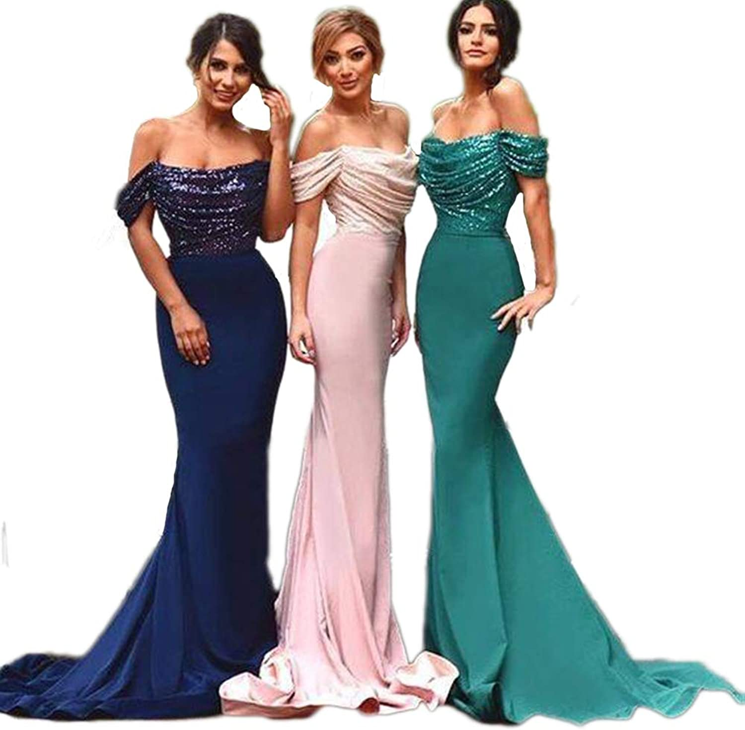 XJLY Women's Off The Shoulder Sequins Long Wedding Party Dresses Mermaid Bridesmaid Dresses