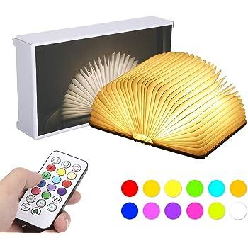 Lampada Libro RGB,Tomshine Lampada Led a Forma di Libro,12 colori che modificano l'umore e dimmerabile con timer USB ricaricabile. [Classe di