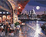 DIY Oil Painting Paint by Number Kit for Kids Adults Beginner 16x20 inch - Coffee Shop Night View, Drawing with Brushes Christmas Decor Decorations Gifts (Without Frame)