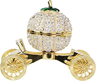 Pumpkin Carriage Trinket Box Metal Enameled Wedding Diamond Jewelry Box Ring Holder Organizer