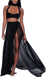 feb7aab8354 Women s Strap Chiffon Mesh Slit Crop Top Skirt 2 Pieces Beachwear Maxi Long  Dresses