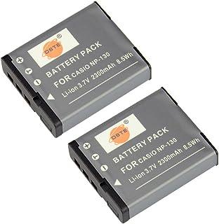DSTE 2-Pieza Repuesto Batería para Casio NP-130 Exilim EX-H30 EX-H30BK EX-H35 EX-ZR100 EX-ZR200 EX-ZR300 EX-ZR400 EX-ZR410 EX-ZR510 EX-ZR700 EX-ZR1000 EX-ZR1200 EX-ZR1500 EX-ZR2000 EX-ZR3500 Camera
