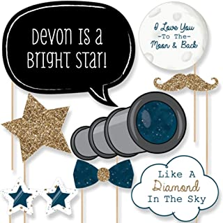 Big Dot of Happiness Custom Twinkle Twinkle Little Star Photo Booth Props Kit - Personalized Baby Shower or First Birthday Nursery Rhyme Party Supplies - 20 Selfie Props