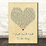BIGGROUP #E.l.t.o.n #J.o.h.n #I Just Can't Wait to Be King Vintage Heart Song Lyric Print Lovers Poster Wall Art Gifts