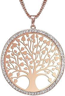 Elistelle - Collana da donna con ciondolo a forma di fiore con zirconi cubici, lunghezza regolabile