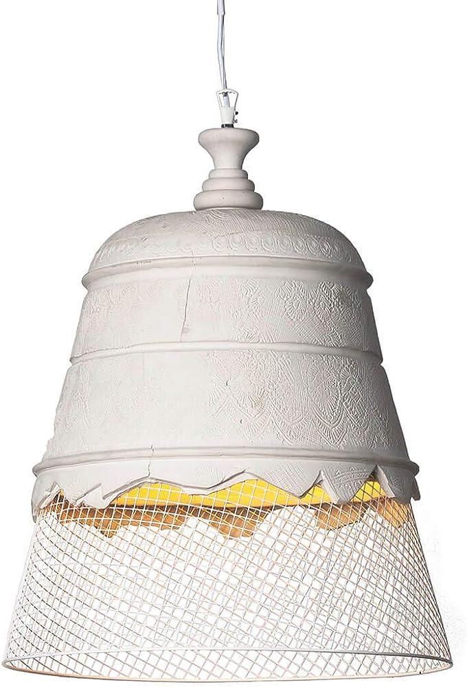 Karman domenica, lampada a sospensione Ø50 cm,  in gesso,con rete metallica bianca SE1022B INT