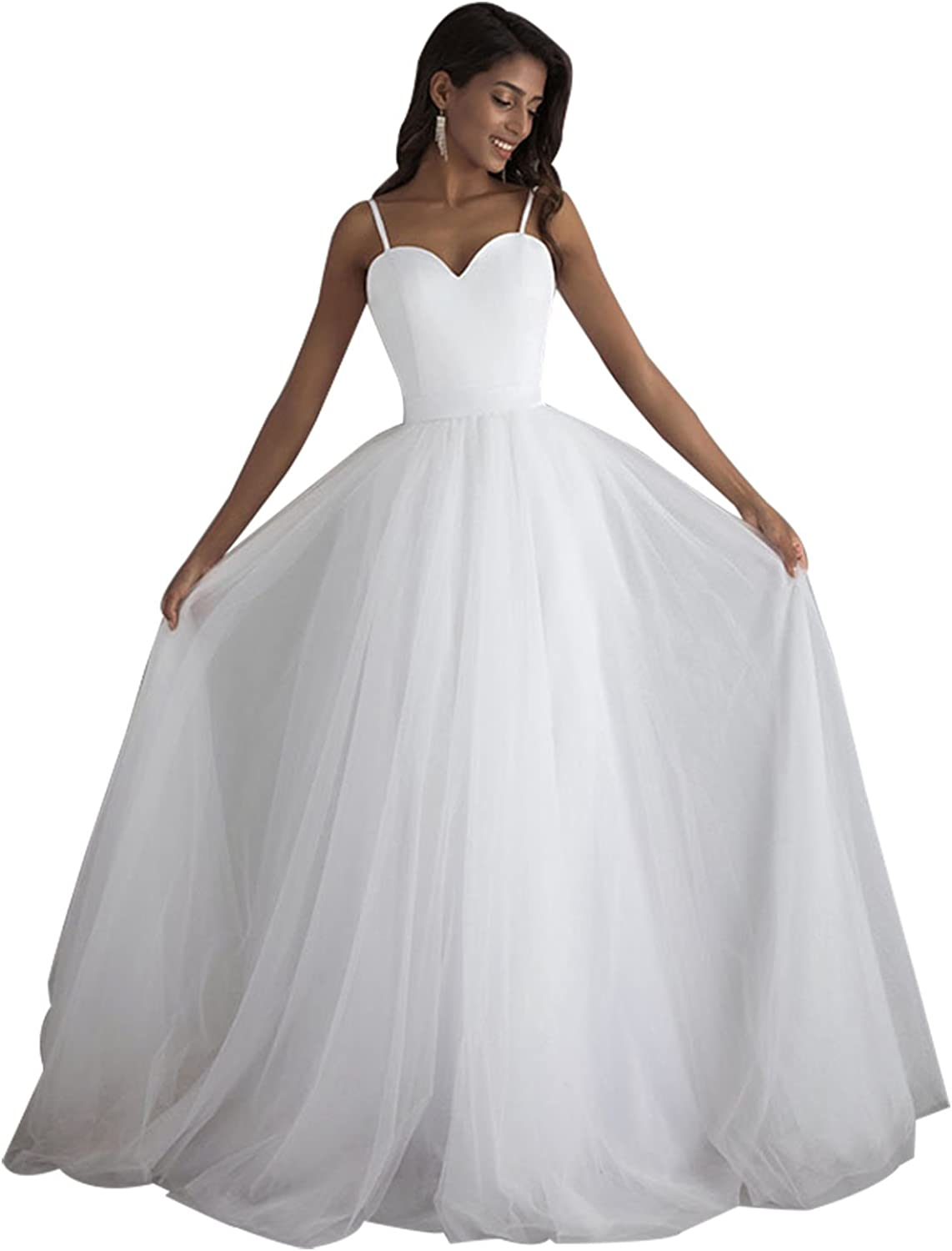 Epinkbridal Elegant Sweetheart Wedding Dress for Bride Spaghetti Straps A Line Tulle Bridal Gowns