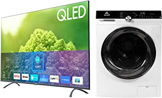 evvoli 65 Inch QLED TV + Washer Dryer Combination (10 KG Washer, 7 KG Dryer)