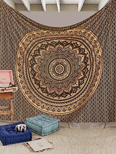 Aakriti Gallery Baumwolle Mandala Wandteppich Wandbehang - Böhmische Tagesdecke, Boho Decke / Überwurf Wandteppiche für Wohnzimmer, Wohnkultur (Black Golden, 235 x 210 cms)