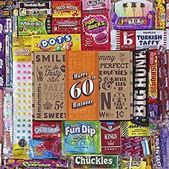 VINTAGE CANDY CO 60TH BIRTHDAY RETRO CANDY GIFT BOX - 1961 Decade Nostalgic Candies - Fun Gag Gift Basket For Milestone SIXTIETH Birthday - PERFECT For Man Or Woman Turning 60 Years Old