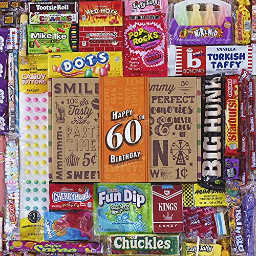 VINTAGE CANDY CO. 60TH BIRTHDAY RETRO CANDY GIFT BOX - 1961 Decade Nostalgic Candies - Fun Gag Gift Basket For Milestone SIXTIETH Birthday - PERFECT For Man Or Woman Turning 60 Years Old