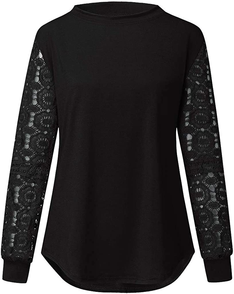 Lace Floral Tops for Women,Casual Loose Sweetheart Blouse,Scalloped Trim See Through Long Sleeve T-Shirt Tigivemen