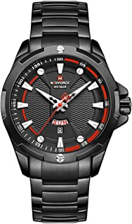 Naviforce Men's Black Dial Stainless Steel Analogue Classic Watch - NF9161-BB