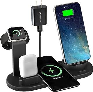 Soporte de Carga Inalámbrico, 6en1 Base de Carga Inalámbrico para iPhone Samsung HUAWEI Google XiaoMi,18W Qi Base de Carga...