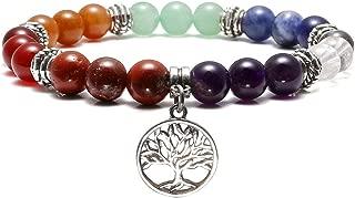 7 Chakra Reiki Healing Bracelet Real Stones Yoga Meditation Mala Bead Elastic Bracelets for Women, Silver Alloy Tree of Life Charm