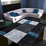 Fabelia Alfombra de Diseño Moderno Hawaii - Jaspeada, Turquesa, 120 x 170 cm