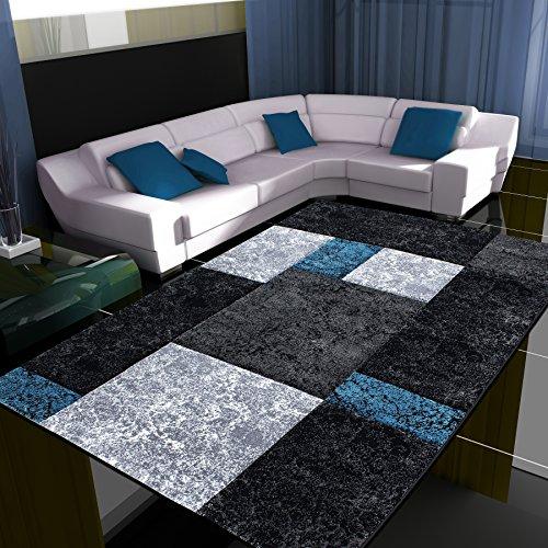 Fabelia Alfombra de Diseño Moderno Hawaii - Jaspeada, Turquesa, 80 x 150 cm