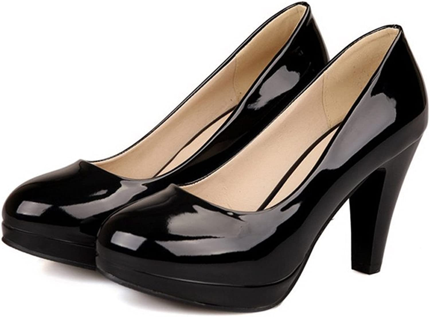 WANabcMAN Comfortable Womens Closed Round Toe High Heel Platform Patent Leather PU Solid Pumps
