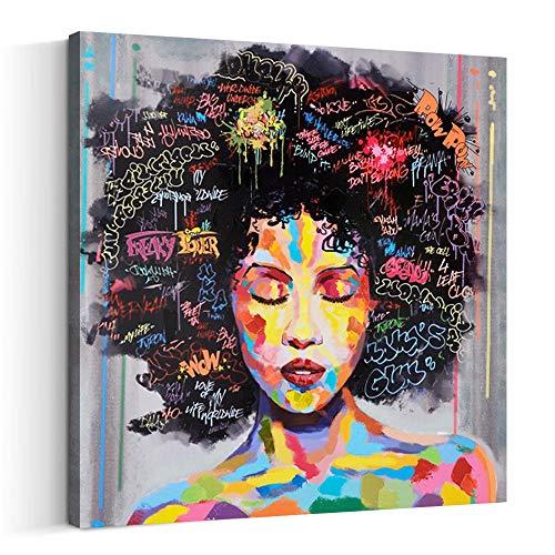 FREE CLOUD Crescent Art Abstract Pop Black Art African American Wall Art Afro Woman