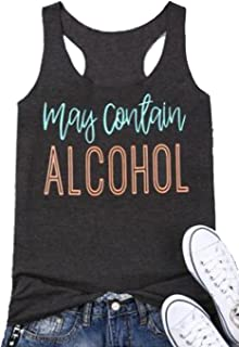 FAYALEQ May Contain Alcohol Tank Tops Funny Drinking Party Sleeveless Shirt Women Letters Print Casual Vest Tees