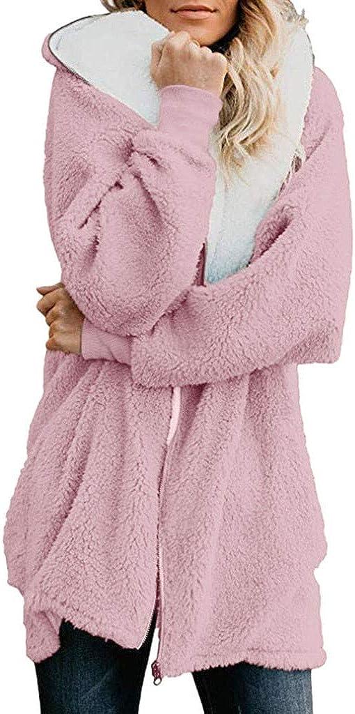 Womens Solid Oversized Zip Down Hooded Coat Cardigans Outwear with Pocket Windbreaker Jacket Pea Coat Trench