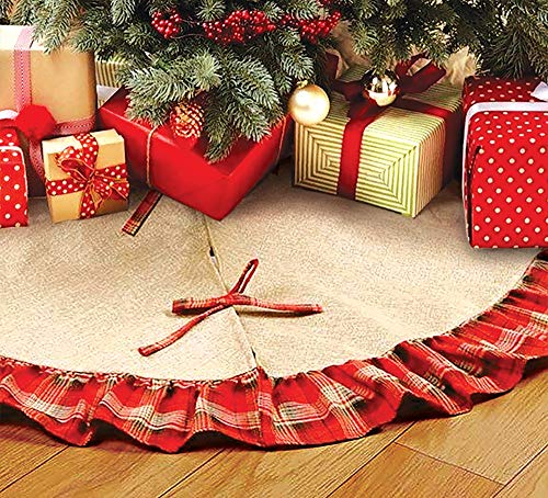 OLYPHAN Burlap Christmas Tree Skirt Rustic Xmas Tree Skirts Red Plaid Ruffle & Natural Brown Farmhouse Country Holiday Décor Large 36 Inch (3 Ft) Round Diameter