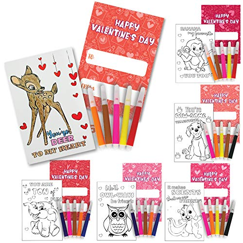 ATFUNSHOP Valentines Day Cards for Kids Coloring Cards with Watercolor Markers 30 Packs for Kids Classroom Exchanged Valentines Gift Party Favor