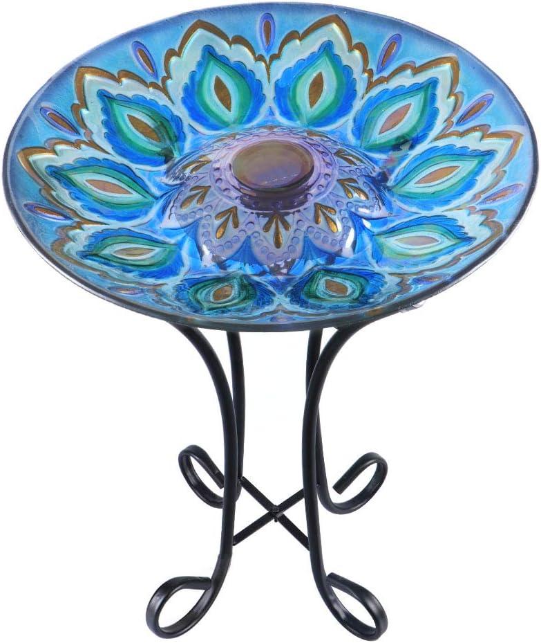 MUMTOP Outdoor Brand new Glass Bird Bath Raleigh Mall Birdbaths Solar Stand Metal with
