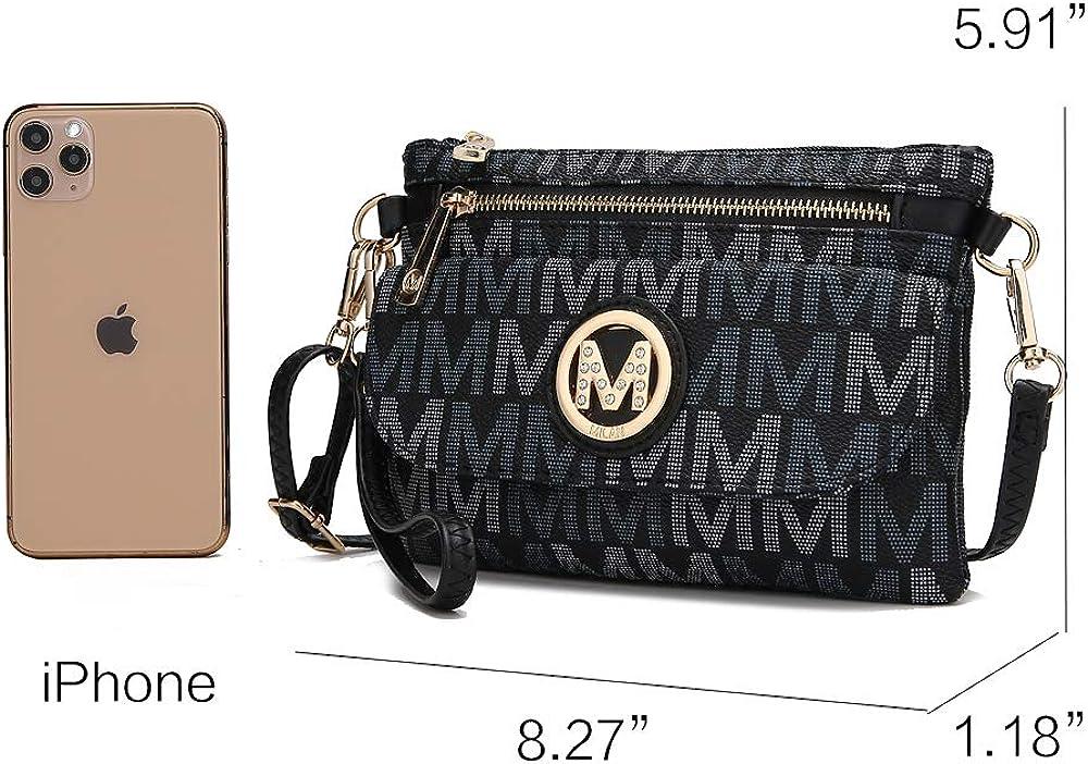 MKF Crossbody Bag for Women, Wristlet Handle – PU Leather Messenger Purse – Adjustable Shoulder Strap Handbag