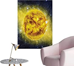 Anzhutwelve Galaxy Art Stickers Panorama of Sun in Space with Luminous Effects Dynamic Center of Solar System PrintYellow Blue W32 xL48 Space Poster