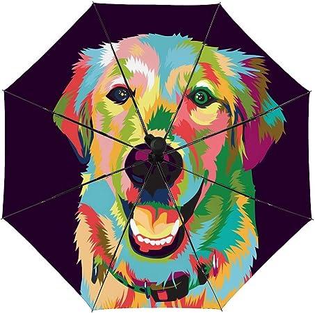 Rainbow Dog Wallpaper Pattern Sun/&Rain Automatic Umbrella Windproof Travel UV